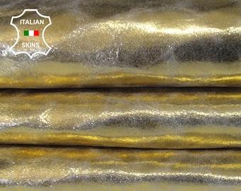 METALLIC GOLD CRACKLED crackle vintage look Italian Goatskin Goat leather skin hide skins hides 7sqf 0.5mm #A6598