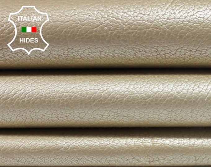 LIGHT GOLD PEARLIZED Grainy vegetable tan Goatskin Goat leather skin hide skins hides 4sqf 1.3mm #A3810