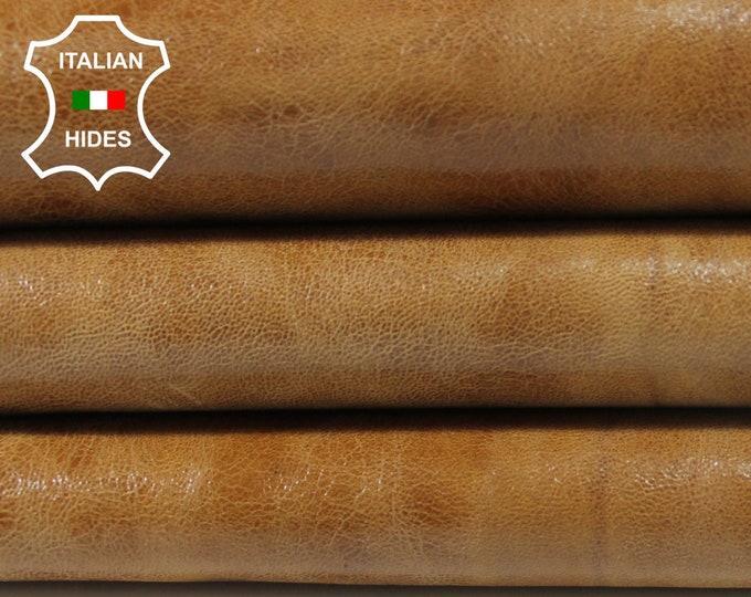 CAMEL SAND SHINY distressed vintage Italian genuine Goatskin Goat leather skin hide skins hides 5sqf 0.9mm #A3851