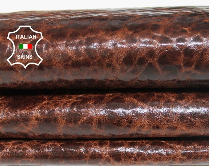 BROWN ANTIQUED SHINY rustic vintage Italian Lambskin Lamb Sheep leather material for sewing skin skins 5sqf 0.7mm #A6356