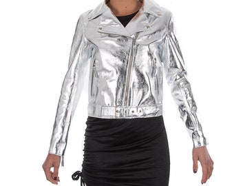 Italian handmade Women soft genuine lambskin lamb leather biker jacket slim fit color Metallic Silver