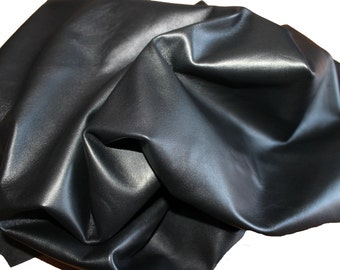 PREMIUM JET BLACK Italian lambskin Lamb Sheep leather 12 skins hides total 80-90sqf