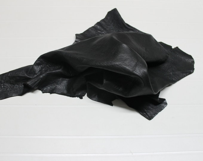 Italian thick Lambskin leather skin skins hide hides WASHED GRAINY BLACK 4sqf #9611