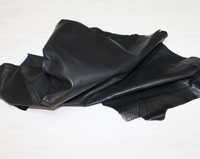 Italian thick Goatskin Goat leather skin skins hide hides WASHED ANTIQUED BLACK vegetable tanned 36sqf #A2617