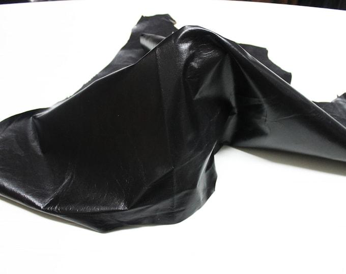 Italian strong Goatskin leather skin skins hide hides Shiny VERY DARK BROWN  7sqf #9593