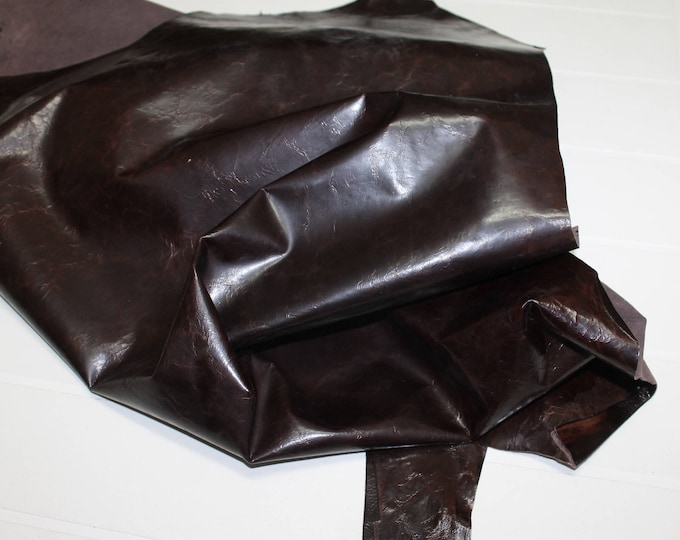 Italian Strong Goatskin Goat leather skin skins hide hides CRINKLE PATENT Dark BROWN 19sqf #A2315