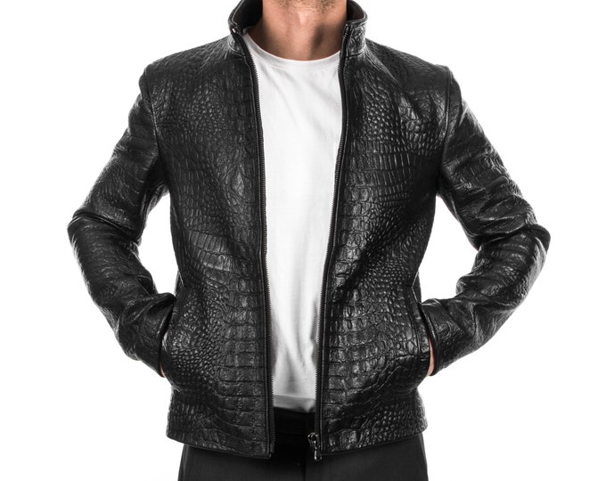 Italian handmade Men genuine Goatskin leather jacket slim fit alligator crocodile Black S to 3XL