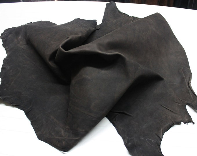 Italian thick strong Goatskin leather skin skins hide hides WASHED ANTIQUED Distressed Dark BROWN 7+sqf #9576