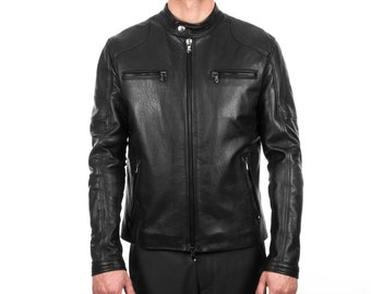 Italian handmade Men natural black leather biker jacket slim fit