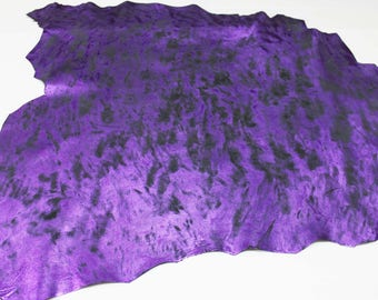 Italian lambskin leather 12 skins hides METALLIC PURPLE Distressed Antiqued 80-90sqf