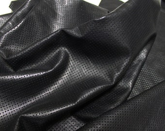 Italian lambskin leather 12 skins hides BLACK PINHOLES PERFORATED 80-90sqf