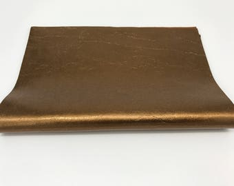 "METALLIC BRONZE brass Italian genuine lamb lambskin sheep leather piece sheet  8""x10"" material for sewing craft fabric  0.7mm  #CI13"