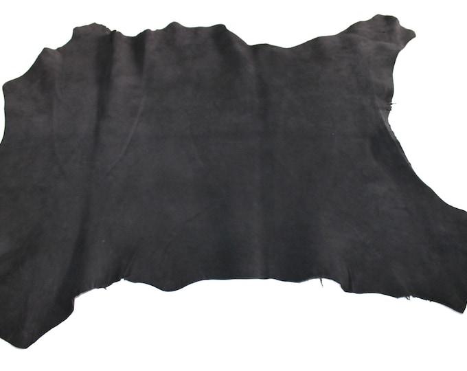 Italian Goatskin leather skin skins hide hides very DARK BROWN SUEDE 3+sqf #8715