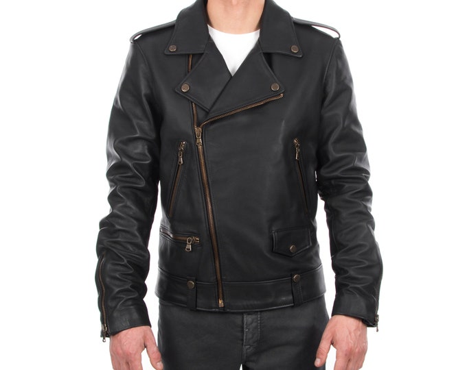 Italian handmade Men genuine lambskin leather biker jacket slim fit color black - brass hardware