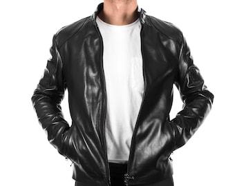 Italian handmade Men black Lamb lambskin grenuine leather biker jacket slim fit