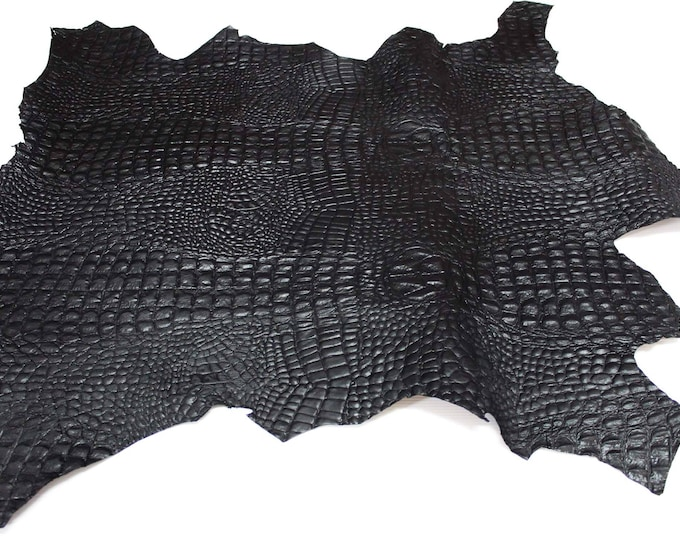BLACK ALLIGATOR CROCODILE thick rough embossed on Italian Goatskin leather 2 skins hides total 14sqf for shoes bags uphlolstery