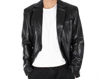 Italian handmade Men genuine lambskin leather 1 botton slim fit BLAZER color Black