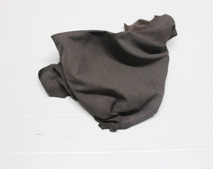 Italian soft Lambskin leather hide hides skin skins Vintage SUEDE FALLOW BROWN 4+sqf  #A303