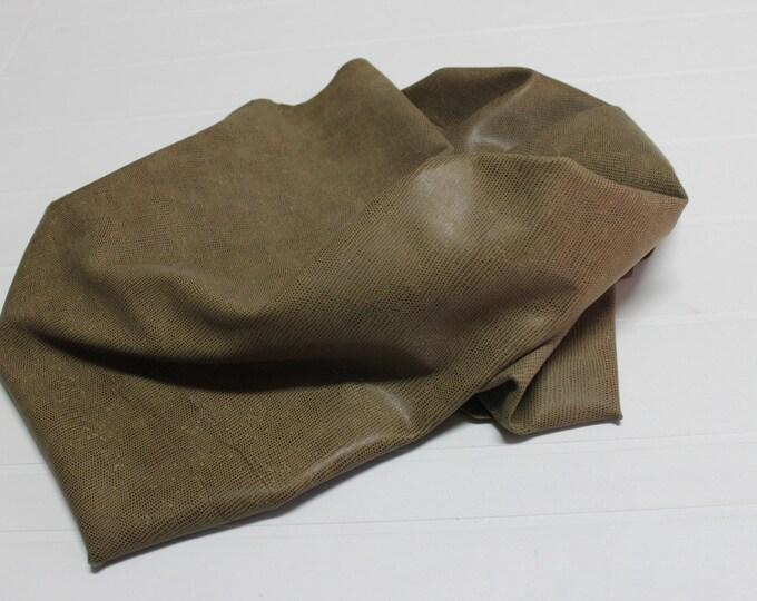 Italian Lambskin leather hides skins hide skin vtg BROWN OLIVE REPTILE print 7sqf  #7853