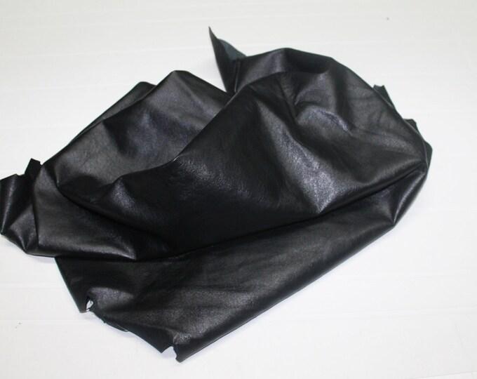 Italian Lambskin leather hide hides skin skins  BLACK ANTIQUED 8sqf  #A110