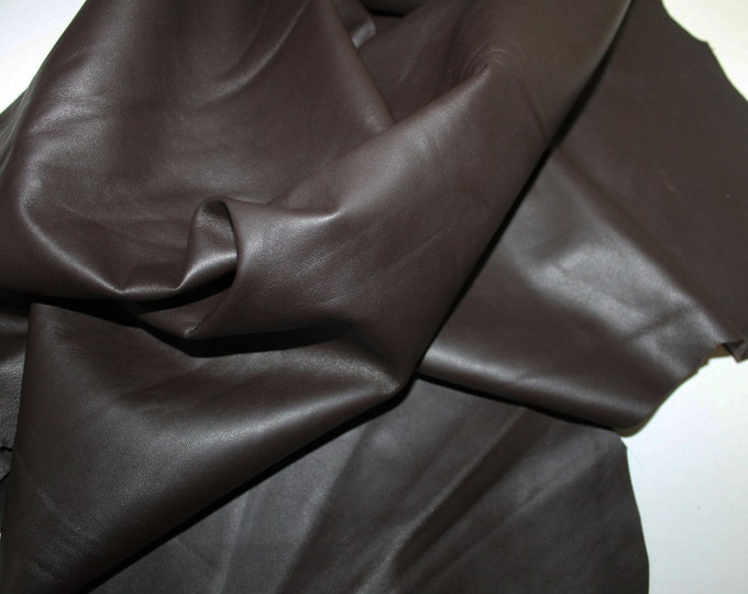 Italian lambskin leather 12 skins hides DARK BROWN 80-90sqf