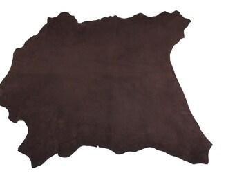 Italian Goatskin leather skin skins hide hides SUEDE CHOCOLATE BROWN 2+sqf #8982