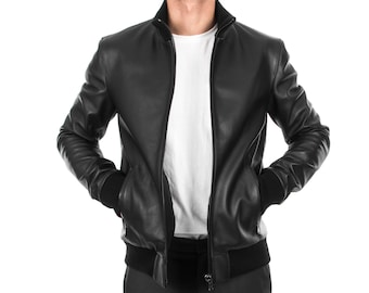 Italian handmade Fantastic slim fit Men soft genuine lambskin Bomber leather jacket color Back S to 2XL
