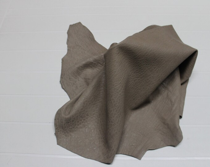 Italian vegetable tan Lambskin leather skin skins hide hides WASHED GRAINY KHAKI  5+sqf #9599