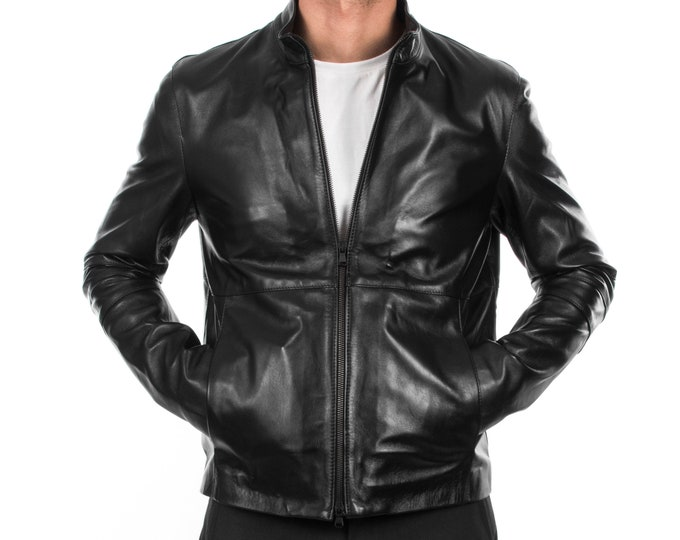 Italian handmade  slim fit Men soft genuine lambskin short leather jacket color BLACK S to 2XL