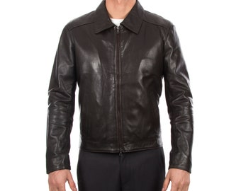 Italian handmade Men soft lambskin genuine leather jacket color Dark brown S to XL