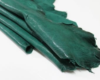 Italian lambskin leather 12 skins hides WASHED ANTIQUED GREEN 160-180sqf