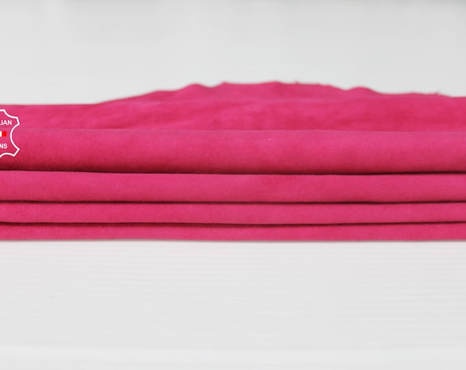 HOT PINK SUEDE Fuchsia fuschia soft Italian Lambskin Lamb sheep leather material for sewing crafts skin hide skins hides 6sqf 0.6mm #A6713