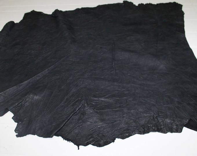 Italian Lambskin Lamb leather skin skins hide hides WRINKLED BLACK 5sqf #A2419