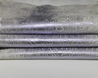 METALLIC BLUWISH SILVER distressed washed grainy textured vintage look thick Lambskin Lamb Sheep leather 2 skins total 10sqf 1.4mm #A6897