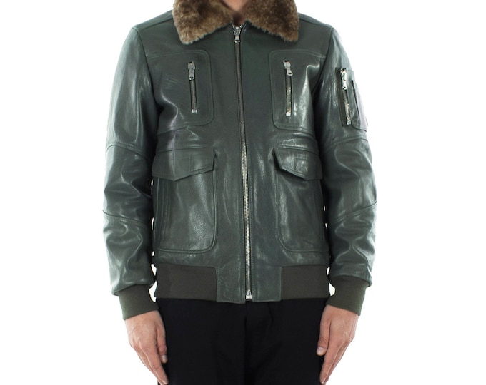 Italian handmade Men aviator Bomber genuine leather jacket comfortable fit olive green sheepskin fur collar