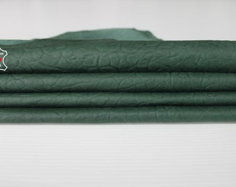 GREEN ELEPHANT TEXTURE forest green grainy Italian Lambskin Lamb Sheep leather 3 skins hides total 22sqf 0.7mm #A6682