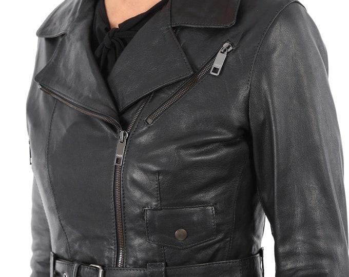 Italian handmade Women genuine leather cropped biker jacket slim fit washed black