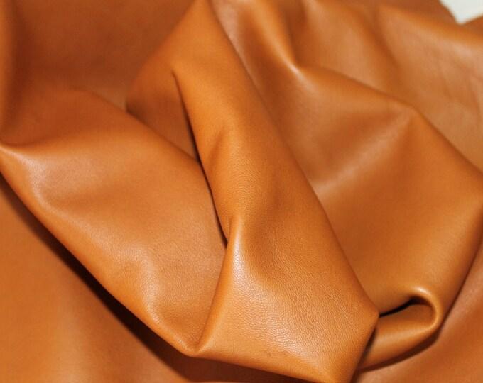 Italian lambskin leather 12 skins hides SADDLE TAN CUOIO 80-90sqf