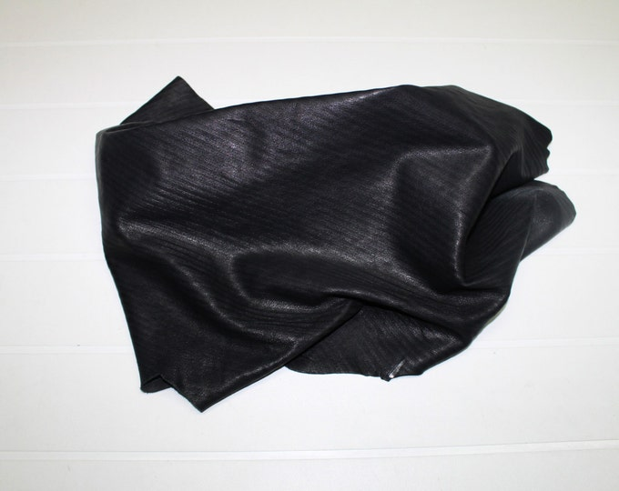 Italian soft Lambskin leather hide hides skin skins Washed ANTHRACITE PARALLEL LINES Engrave #10046  4sqf