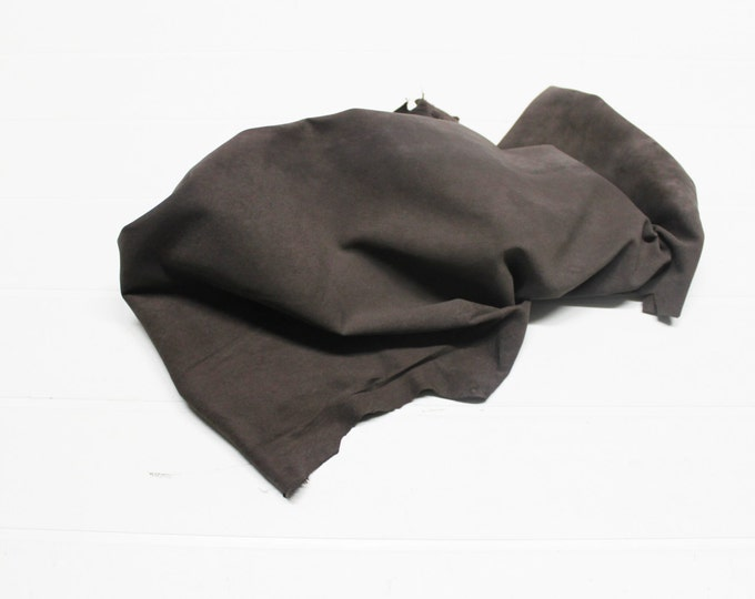 Italian soft Lambskin leather hide hides skin skins Vintage SUEDE FALLOW BROWN 4+sqf  #A302