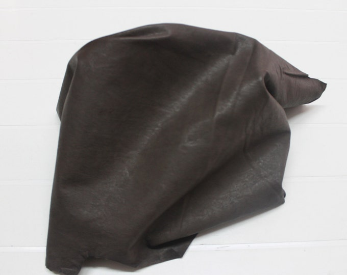 Italian soft Lambskin leather hide hides skin skins WASHED ANTIQUED BROWN 3+sqf  #A284