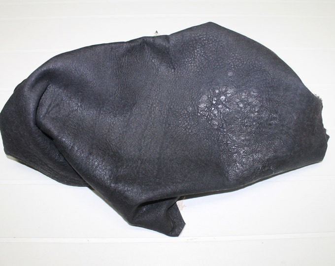 Italian Lambskin leather hide hides skin skins Washed GRAINY CHARCOAL BLACK 6sqf  #A271