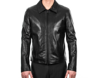 Italian handmade Men genuine lambskin leather jacket slim fit BLACK