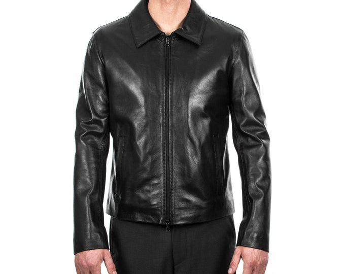 Italian handmade Men genuine lambskin leather jacket slim fit BLACK