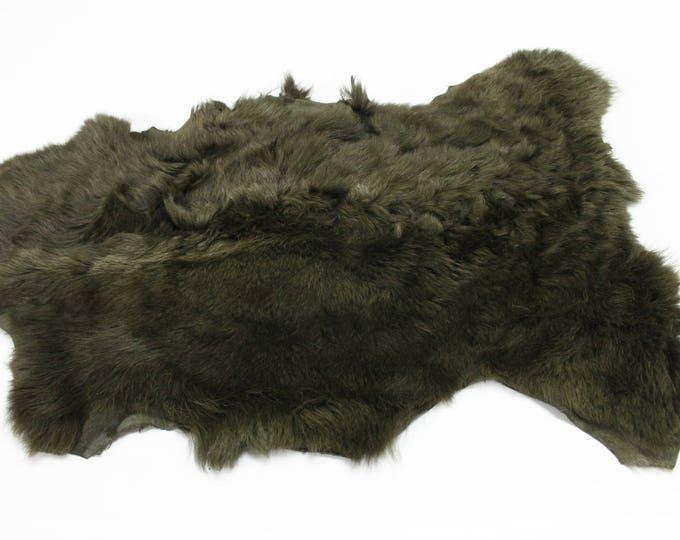 OLIVE GREEN sheepskin hair on shearling fur sheep Italian leather skin skins hide hides #M055
