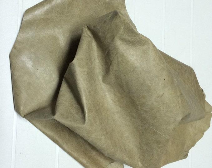 Italian Goatskin leather hides skins hide skin vintage Light Olive DISTRESSED 6sqf  #8073