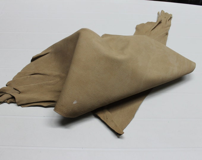 Italian thick strong Goatskin leather hide hides skin skins washed GRAINY ARMY BEIGE #10016  4sqf