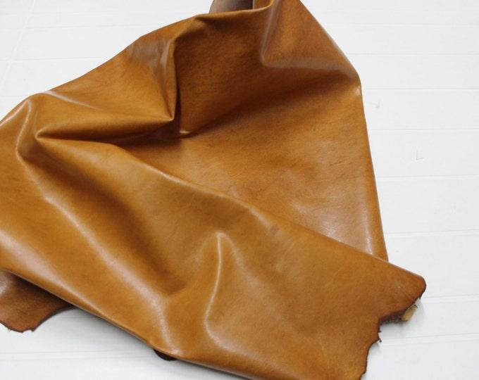 Italian Goatskin leather 12 skins hides  VINTAGE VEGETABLE tanned TAN 80-90sqf