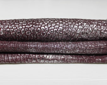 METALLIC SILVER distressed on Wine bordeaux washed bubbly grainy textured vintage thick Lambskin Lamb Sheep leather skin 4+sqf 1.5mm #A6899