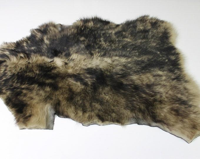 BEIGE DISTRESSED BLACK sheepskin hair on shearling fur sheep Italian leather skin skins hide hides 3sqf #A5077